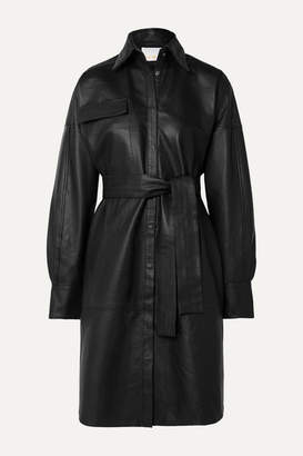 REMAIN Birger Christensen - Bologna Belted Leather Dress - Black