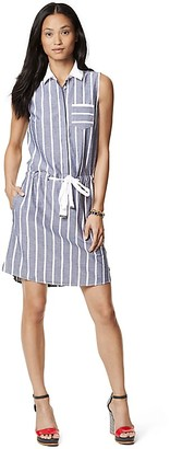 Final Sale- Chambray Stripe Sleeveless Dress $149.50 thestylecure.com