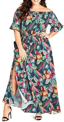 City Chic Plus Jungle-Floral Off-the-Shoulder Maxi Dress