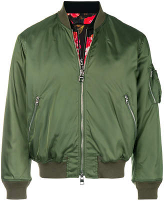 Alexander McQueen Painted Rose Bib bomber jacket