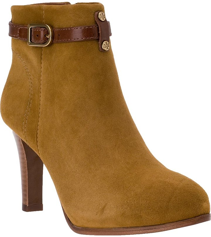 Tory Burch Patricia Mid Ankle Boot Dark Vicuna Tan Suede