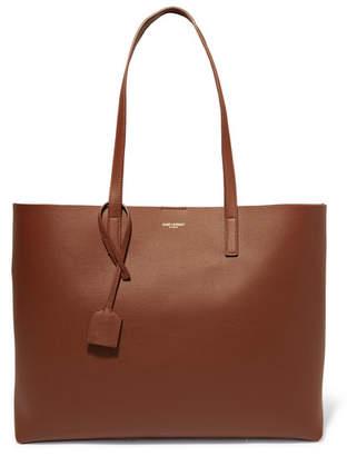 Saint Laurent Shopper Leather Tote - Tan