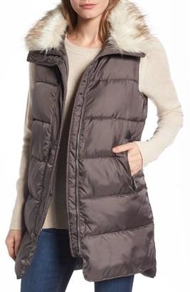 Women's Sam Edelman Faux Fur Trim Long Quilted Vest