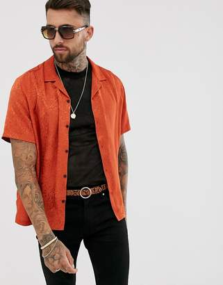 Asos Design DESIGN oversized leopard jacquard shirt in orange with revere collar