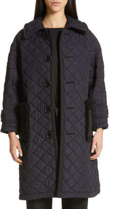 Comme des Garcons Quilted Coat with Faux Fur Trim