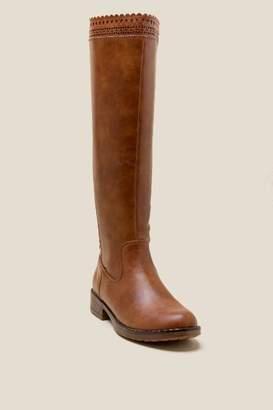 francesca's Sorya Scallop Trim Hi Shaft Boot - Tan
