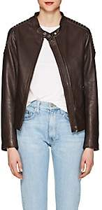 William Rast WOMEN'S LEATHER MOTO JACKET-BROWN SIZE M