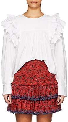 Etoile Isabel Marant Women's Matias Broderie-Trimmed Cotton Top