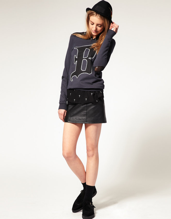 Asos Leather Mini Skirt with Stitch Detail