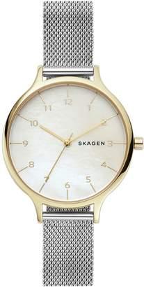 Skagen Womens Anita Two-Tone Steel Mesh Mother-of-Pearl Watch