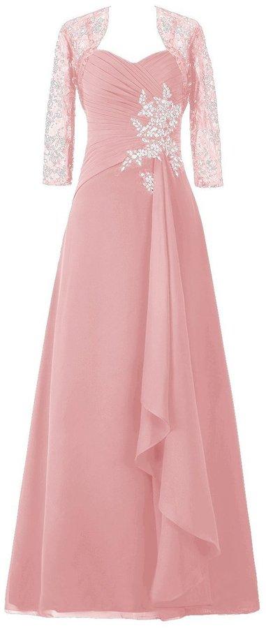 SDRESS Women's Crystals 3/4 Sleeve Wrap Sweetheart Long Mother Bridesmaid Dress