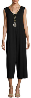 Eileen Fisher Lightweight Cropped Jersey Jumpsuit, Black $218 thestylecure.com