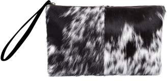MAHI Leather - Classic Clutch Bag In Animal Print & Pony Fur