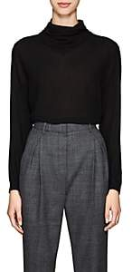 The Row Women's Runa Silk Chiffon Cowlneck Blouse - Black