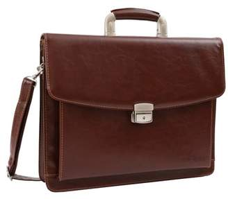 DEERLUX Brown Leather Briefcase, Mens Business Messenger Bag for Laptop