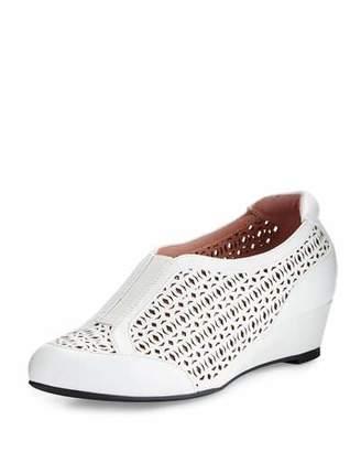 Taryn Rose Parus Laser-Cut Demi-Wedge Sneaker, White $229 thestylecure.com