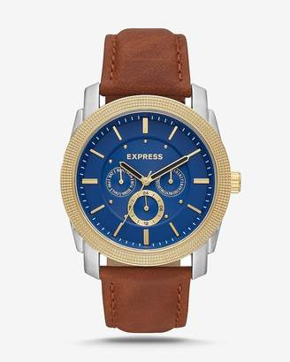 Express Rivington Blue Face Multi-Function Watch - Brown Leather