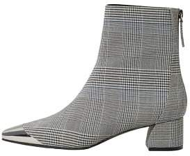 MANGO Metallic pointed toe check ankle boots