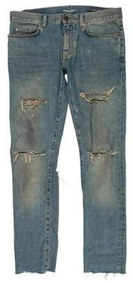 Saint Laurent D02 Back Rip Distressed Skinny Jeans