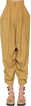 Alberta Ferretti High Waist Linen Blend Canvas Pants