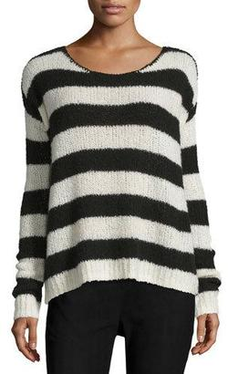 ATM Anthony Thomas Melillo Striped Wool-Blend Sweater, Chalk/Black $138 thestylecure.com