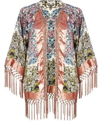 Pink floral baroque print fringed kimono