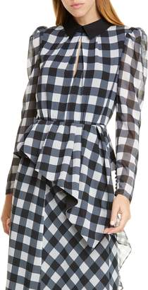 Self-Portrait Gingham Asymmetrical Peplum Blouse