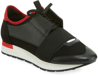 Balenciaga Men's Race Runner Mesh & Leather Sneakers, Black/Red