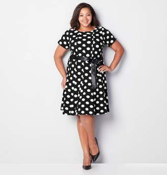 fd3ccaa902a Avenue Plus Size Shadow Dot Fit And Flare Dress