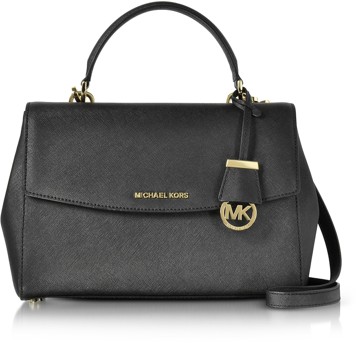 MICHAEL Michael Kors Michael Kors Ava Medium Black Saffiano Top Handle Satchel