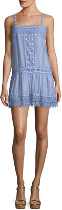 Neiman Marcus Queen & Pawn Sleeveless Dyed Cotton-Silk Blend Mini Dress with Lace Details