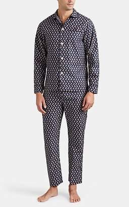 Maison Marcy Men's Floral-Feather Cotton Poplin Slim Pajama Set - Blue Pat.