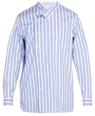 Jil Sander Fold Over Collared Shirt - Mens - Blue