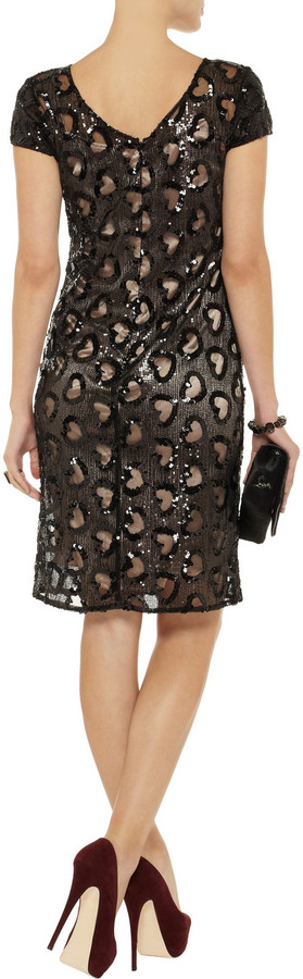 Mikael Aghal Heart-cutout sequined tulle dress