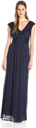Sangria Women's V-Neck Lace and Chiffon Evening Gown