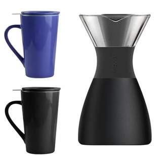 Asobu ASOBU 32-Ounce PourOver Insulated Coffee Maker (Black) & Tea Time Mug (Blue/Black), 2 Pack