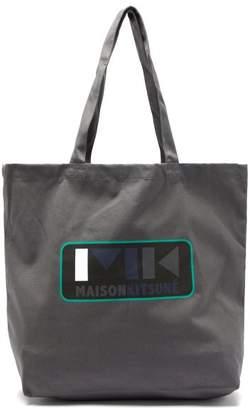 MAISON KITSUNÉ Play Logo Print Cotton Tote Bag - Mens - Grey