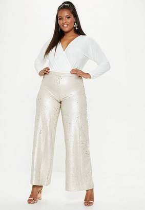 Missguided Plus Size Gold Flat Sequin Wide Leg Trousers