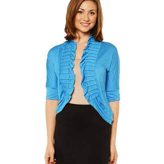 24/7 Comfort Apparel Women's 3/4 sleeve Ruffled Shrug