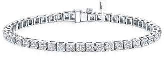 Diamond Wish 14k White Gold Round Cut Diamond Tennis Link Bracelet 4-Prong (2 1/2 cttw, Color, I2-I3 Clarity)