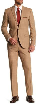 Nick Graham Windowpane Two Button Notch Lapel Extra Trim Fit Wool Suit