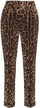 Dolce & Gabbana leopard print slim-fit trousers