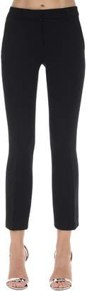 L'Autre Chose Cropped Wool Crepe Flared Pants