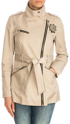 GUESS Asymmetrical Zip Trench Coat