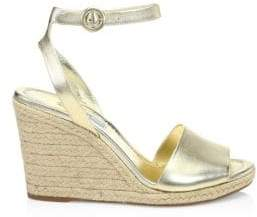 Prada Metallic Leather Wedge Espadrille Sandals