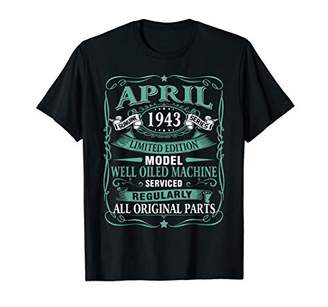 Vintage Made in April 1943 76th Years Old Birthday T-Shirt