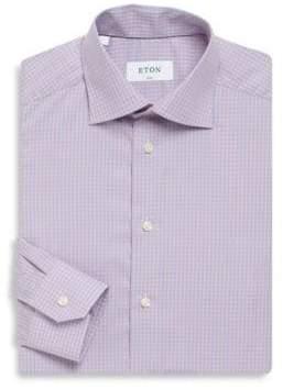 Eton Gingham Slim-Fit Cotton Dress Shirt