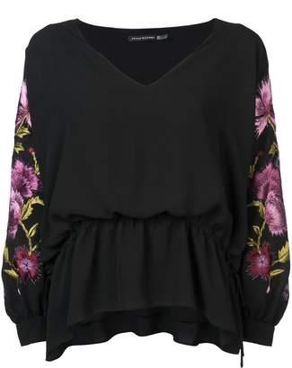 Josie Natori floral embroidered blouse