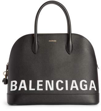 Balenciaga Ville Logo Leather Satchel
