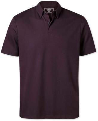 Charles Tyrwhitt Plain Burgundy Jersey Cotton Polo Size Large